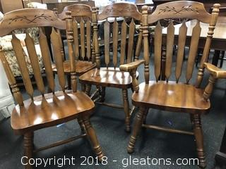 Vintage Solid Wood Dining Chairs, Set of Four Great Cond.