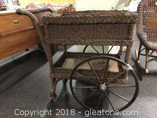 "Brown Wicker Cart 34"" X 34"" Unique!"