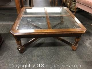 Coffee Table Square W/Glass 37""