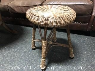 Brown Wicker Stool 18 X 18""