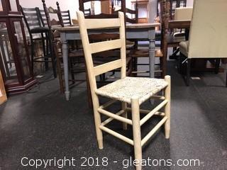 White, Farmhouse Woven Wood Seat Chair