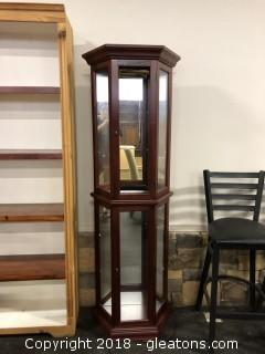 Curio Cabinet 3 Sides Light Ed and Small 21 X 70""