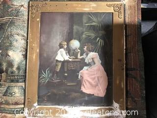 "Vintage Framed Print Globe 25 X 21"""