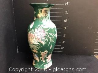 Large Vase Floral Lacquered Great Condition