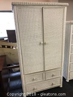 White Wicker Chifferobe