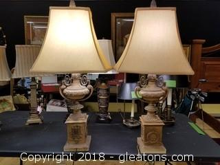Pair Of White Wash Urn Lamps