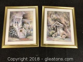 "Pair of Framed Art Vintage 32x26"""