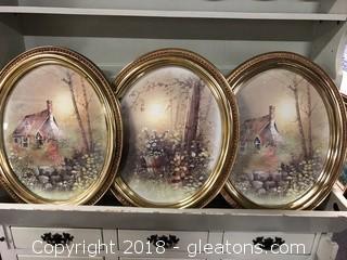 "Set of Vintage Oval Wall Art 31"""