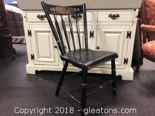 Spindle Back Antique Side Chair, Hand Painted (A)