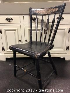 Spindle Back Antique Side Chair, Hand Painted (B)