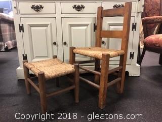 Antique Children's Rush Seat And Stool Original Farmhouse