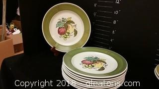 Provencial Fruit Made In CA. By Metlox 9 Dinner Plates