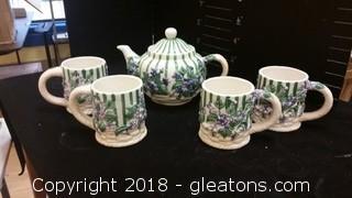 Violets Teapot+Mugs