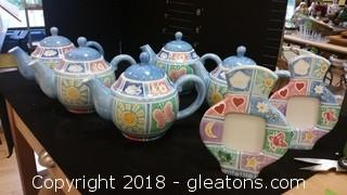 Bule Tea Pots + Frames