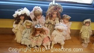 Porcelain (8) Dolls Lot A