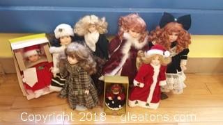 Porcelain  (8) Dolls Lot B