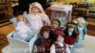 Porcelain (8) Dolls Lot D
