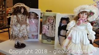 S- Large Porcelain Dolls Lot E