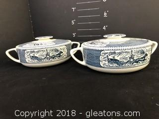 Pair Lidded Casserole Blue And White Colonial