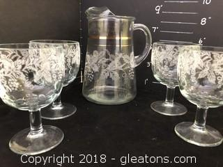 Vintage Glass Ware Large Goblets Matching Pitcher Etched