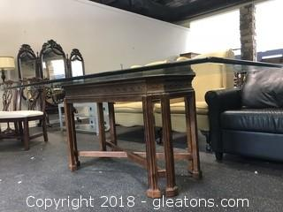 Dining Table Glass Top Solid Wood Base By Universal Furniture