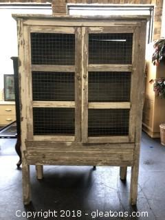 Pie Cabinet Primitive Wood, Tin, Wire