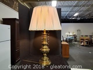 Nice Brass Table Lamp Pinch Pleated Shade Turn Knob