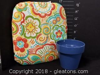 Garden Seat Cushion And Pot