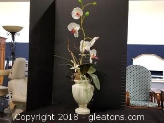 Orchid In White Distressed Vase