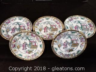 Chinese Pattern Small Plates Set Of 5
