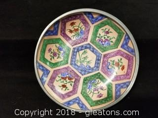 Neiman Marcus Hand Painted Bowl In Pewter