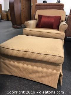 Small Stationary Arm Chair With matching Ottoman