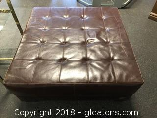 Large Leather Ottoman Or Coffee Table, Tabacco Color Flat Surface