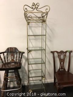 Iron And Glass Open Display Tower 6' 5 Shelves