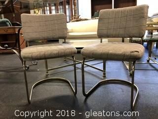 Pair Upholstered Mid Century Dining Chairs