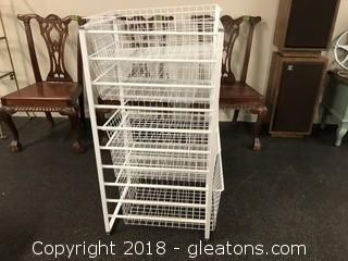 Sliding Wire Storage Unit With Six Compartments