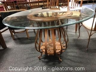 Dining Room Table Gorgeous Round Glass Top Iron+Wood Table
