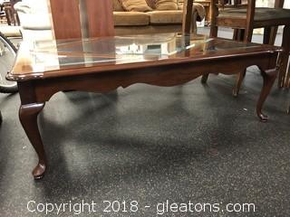 Large Traditional Style Coffee Table Bevelled Glass Detail