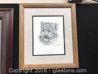 Charles Frame Snow Leopard Club Print Framed