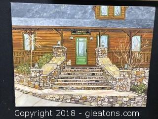 Original, Unframed Acrylic On Canvas mountain House Still Life Signed A Kid