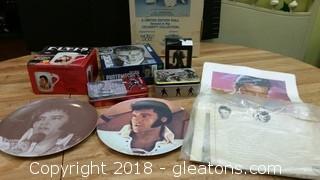Lot Of Elvis memorabila-Dishes, Doll, Mug