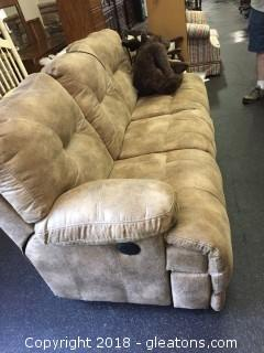 Brown Microfiber Couch-Bonus: Both end sections recline!