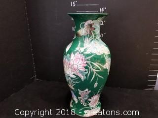 Large Floral Laquered Vase
