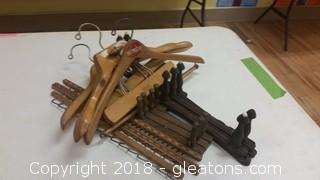Men's Old Vintage Wooden Hangers Tie Rack/Belt Racks