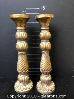 Pair Wooden Gold Candlesticks Matching, Tall Scroll