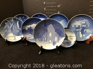 Collection Of Blue And White Royal Coppenhagen Collectible Plates