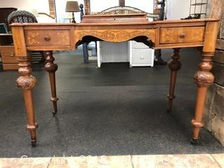 Victorian Desk Hand Carved And In Laid Wood Detail Casters And Burled Walnut