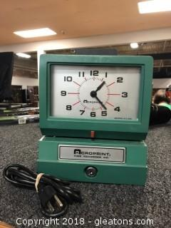 Acroprint Time Recorder Clock Model: 125NR4 Works