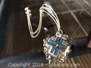 Italian Silver Necklace, Pendant Isa Cross From Jerusalem