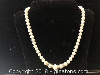 "Fresh Water Pearl And Crystal Necklace 15"", Pearls Sizes 8 to 10mm"